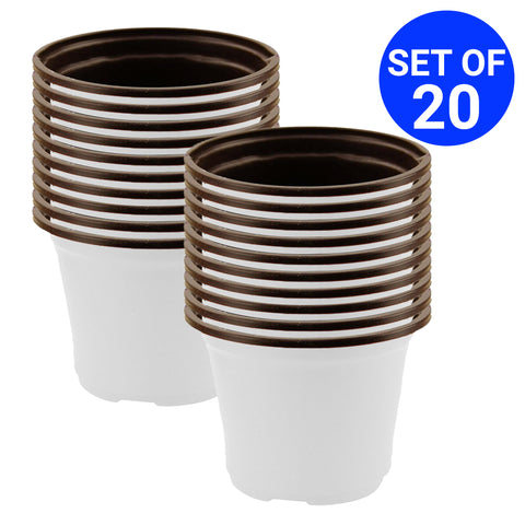 Best Small Pots Online - Nursery Plastic Pot 5 inch (Set of 20 Pots)