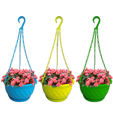 TrustBasket Large Size Colorful Plastic Hanging Baskets with Bottom Saucer
