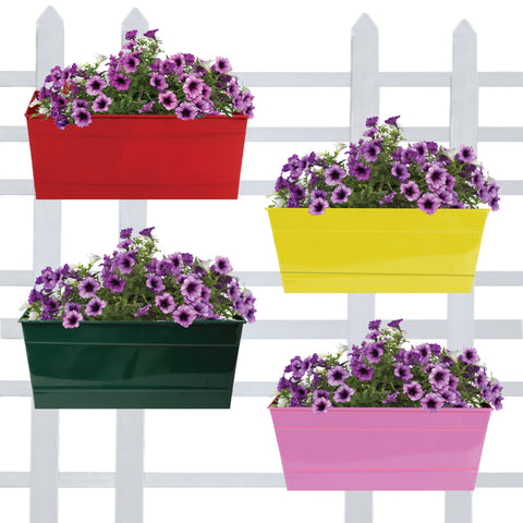 DECORATIVE/CONTEMPORARY PLANT POTS - Rectangular Railing Planters (Red, Yellow, Green, Magenta ) 12 Inch - Set of 4
