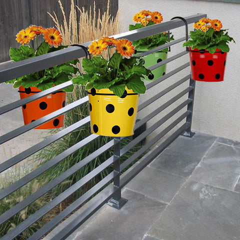 Railing Mountable Hanger with 4 Dotted Flower Pots (Orange, Yellow, Green, Red)