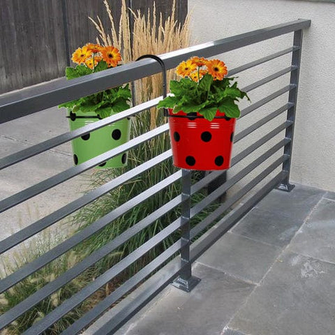 Best Over The Rail Planters - Railing Mountable Hanger with Green and Red Dotted Round Planter