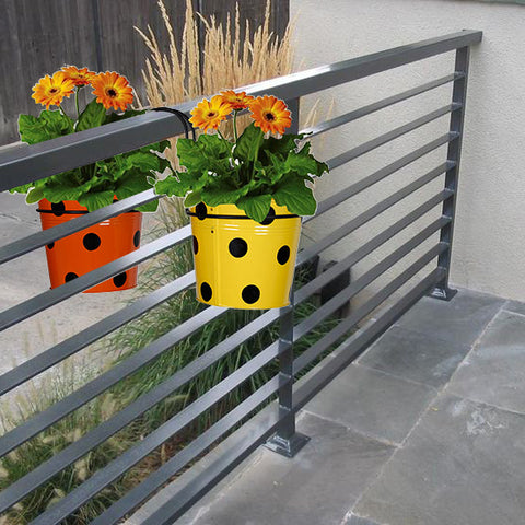 Best Over The Rail Planters - Railing Mountable Hanger with Yellow and Orange Dotted Round Planter