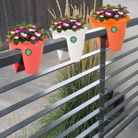 Buy Medium Pots Online - UV Treated Mountable Plastic Railing Planter (Red, White, Orange) - Set of 3