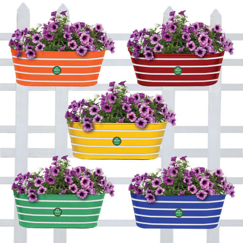 Valentines Day Offer - Buy 2 Get 20% Off - Ribbed Oval Balcony Railing Flower Pots/Planters - Set of 5 (Red, Yellow, Green, Orange, Blue)