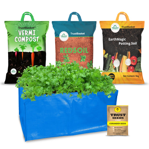 Best Vegetable & Gardening Kit in India - TrustBasket EasyGro Coriander Growing Kit (Grow bag, Soil, manure, Seeds)