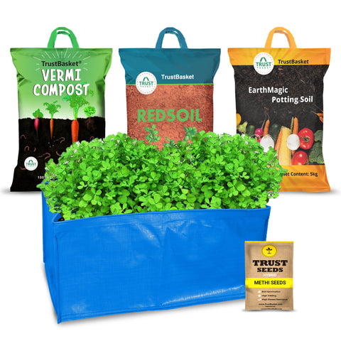 Best Vegetable & Gardening Kit in India - TrustBasket EasyGro Methi Growing Kit (Grow bag, Soil, manure, Seeds)