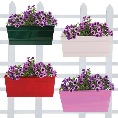 DECORATIVE/CONTEMPORARY PLANT POTS - Rectangular railing planter (Green, Ivory, Red, Magenta) 12 inch - Set of 4