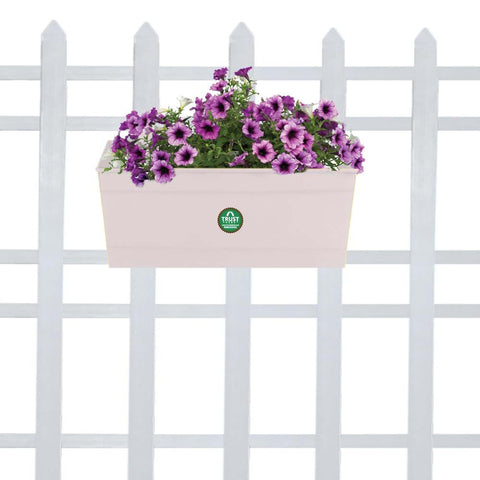 DECORATIVE/CONTEMPORARY PLANT POTS - Rectangular Railing Planter -Ivory(12 Inch)