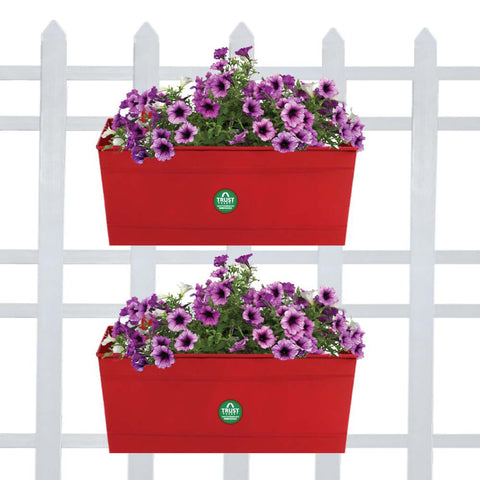 DECORATIVE/CONTEMPORARY PLANT POTS - Rectangular Railing Planter - Red (12 Inch) - Set of 2