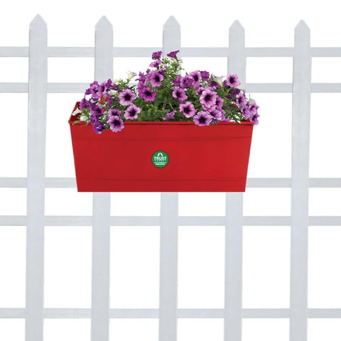 DECORATIVE/CONTEMPORARY PLANT POTS - Rectangular Railing Planter - Red (12 Inch)