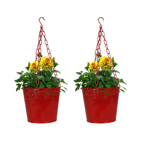 Set Of 2 Lace Hanging Basket-  Red