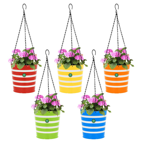 Valentines Day Offer - Buy 2 Get 20% Off - Round Ribbed Hanging Basket - Set of 5 (Green, Yellow, Red, Blue, Orange)