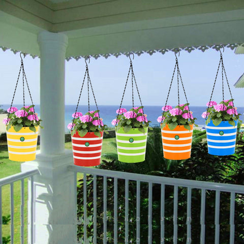 Round Ribbed Hanging Basket - Set of 5 (Green, Yellow, Red, Blue, Orange)