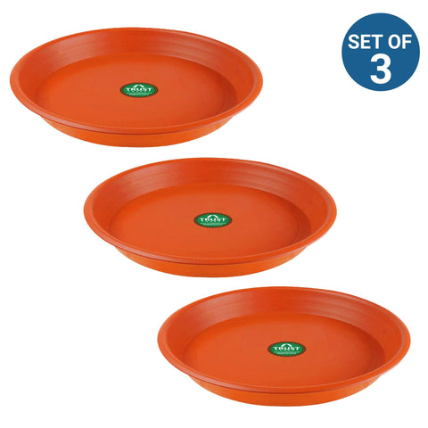 All containers - TrustBasket UV Treated 6.4 inch Round Bottom Tray(Plate/Saucer) Suitable for 10 inch Round Plastic Pot