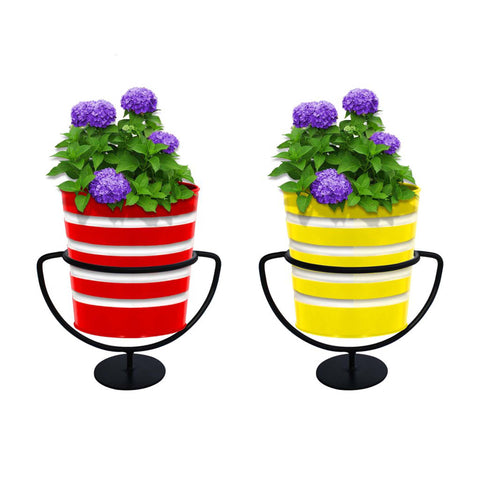 Indoor TableTop Planters - TrustBasket Set of 2 Trophy Stand with Yellow and Red Ribbed Planters