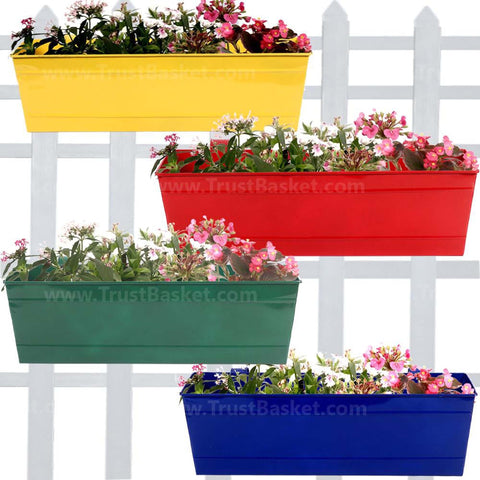 Rectangular Planters Online India - Rectangular Railing Planter -Yellow, Red, Green and Blue (18 Inch) - Set of 4