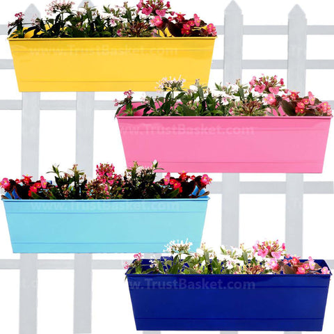 Rectangular Planters Online India - Rectangular Railing Planter -Yellow, Blue,Teal And Magenta (18 Inch) - Set of 4