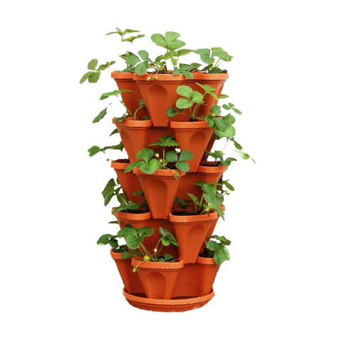 Best Vertical Garden Pots In India - Stack planter-Brown