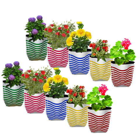 Best Garden Grow Bags in India - Premium Colorful Stripe Grow Bag - Set of 10 (20*20*35 cm)