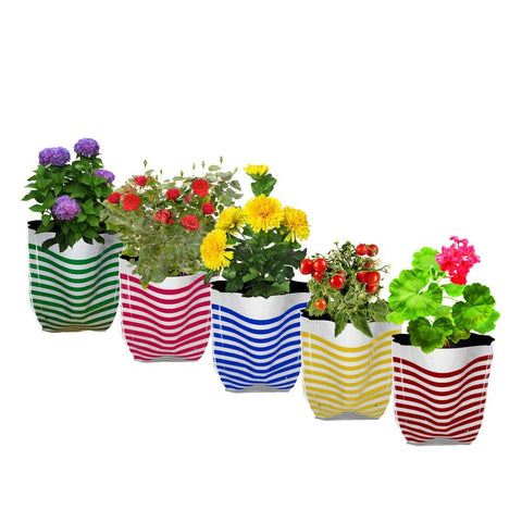 Best Garden Grow Bags in India - Premium Colorful Stripe Grow Bag - Set of 5 (20*20*35 cm)
