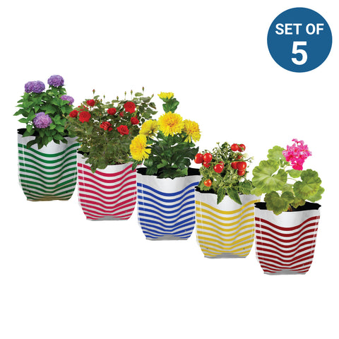 Best Garden Grow Bags in India - Premium Colorful Stripe Grow Bag - Set of 5 (25*15*35 cm)
