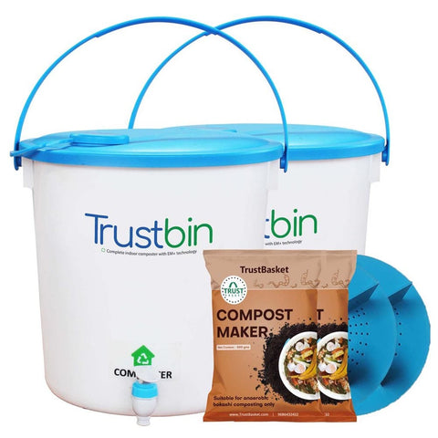Colorful Designer made planters - TrustBin - Indoor composter kit for a family of 2 members (Set of two 14 ltrs bins)