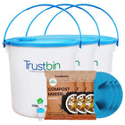 BEST HOME & KITCHEN WASTE COMPOST BIN IN INDIA - TrustBin - Indoor composter kit for a family of 4 members (Set of three 14ltrs bins)