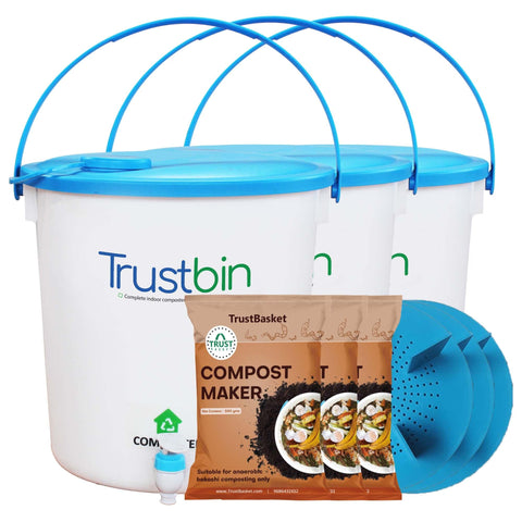 Bokashi DIY Compost Bin in India - TrustBin - Indoor composter kit for a family of 4 members (Set of three 14ltrs bins)
