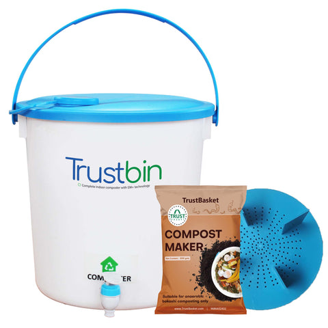 Colorful Designer made planters - TrustBin - Indoor composter trial/starter kit ( 14Ltrs )