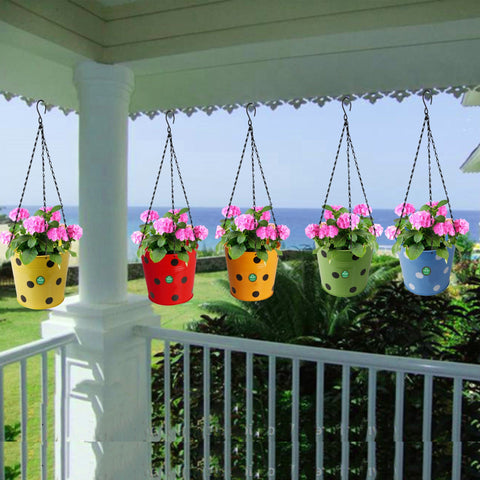 Dotted Round Hanging Basket - Set of 5 (Red, Yellow, Green, Orange, Blue)