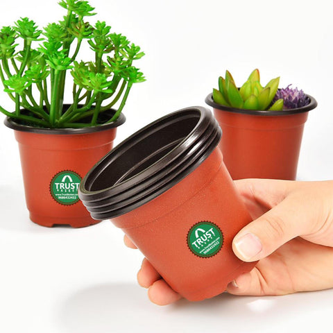 Plastic garden Pots - Nursery Plastic Pot 5 Inch (set of 20 Pots) - Brown