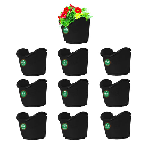 Plastic garden Pots - Vertical Gardening Pouches - Extra Large (Set of 10) - Black