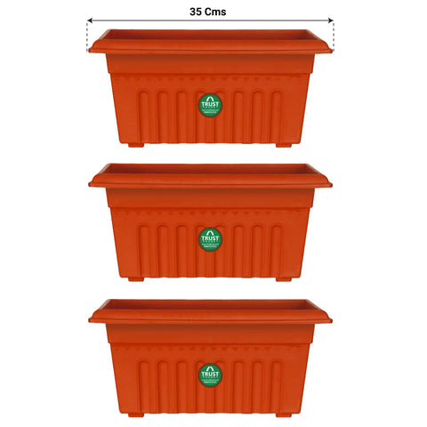 Plastic garden Pots - UV Treated Rectangular Plastic Planters (14 inches)