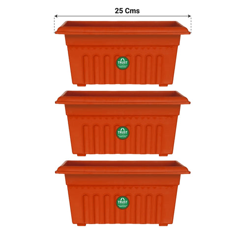 Plastic garden Pots - UV Treated Rectangular Plastic Planter (10 inches)