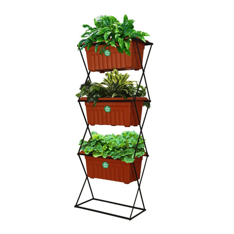 3 Tier Vertical Gardening Pot Stand with 3 Rectangular Plastic Planter