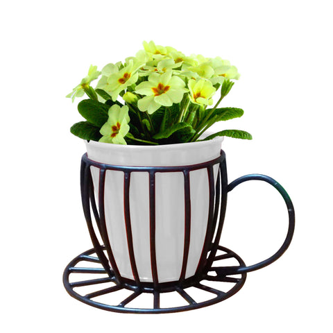 Indoor TableTop Planters - Coffee Cup Table Top Pot With Holder