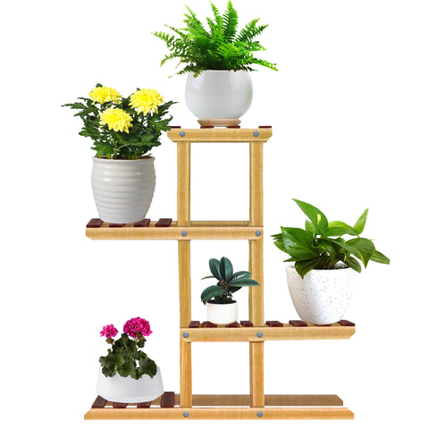 Multilevel Wooden Flower Pot Stand for 5 Plants