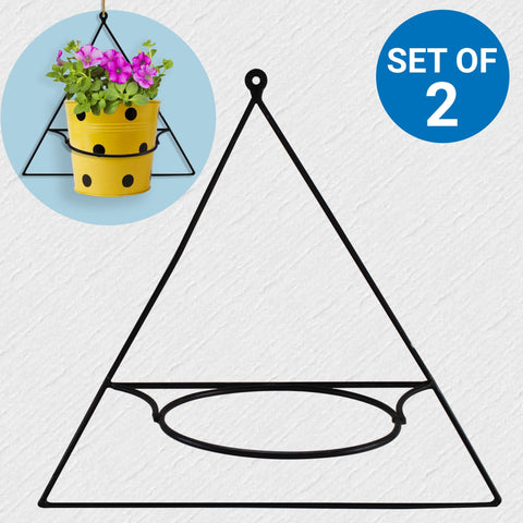 Planter Stand for Flower Pots - Wall Mount Triangle Flower Pot Stand - Set of 2