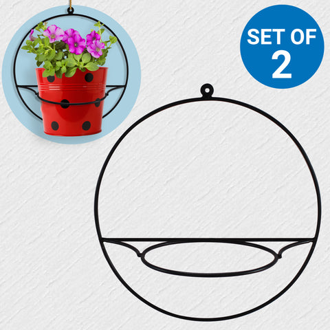 Planter Stand for Flower Pots - Wall Mount Round Flower Pot Stand - Set of 2
