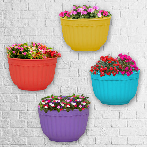 TrustBasket Flora Wall Hanging Pots ( Yellow, Red, Blue and Purple) - Set of 4