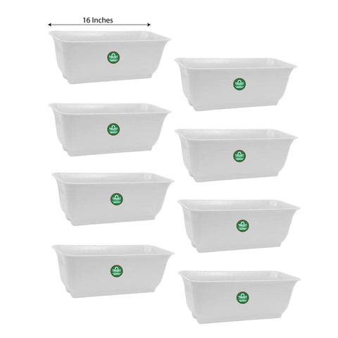 Plastic garden Pots - Window Planters for Home Decorations (White) - 16 inches