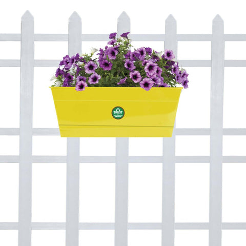 DECORATIVE/CONTEMPORARY PLANT POTS - Rectangular Railing Planter - Yellow (12 Inch)