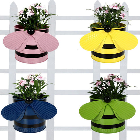 BEST BALCONY RAILING PLANTERS - Set of 4 - Bee planters Light Pink,Yellow,Blue and Green