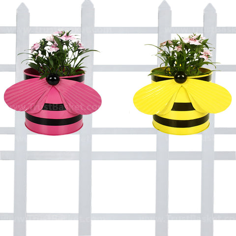 BEST BALCONY RAILING PLANTERS - Bee planters (Yellow and Pink) - Set of 2