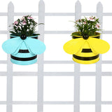 Set of 2 - Bee planters Yellow and Teal - Trust Basket  - 1