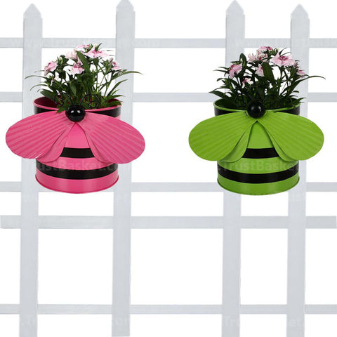 DECORATIVE/CONTEMPORARY PLANT POTS - Bee planters (Pink and Green) - Set of 2