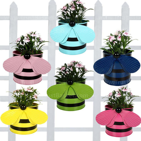 Best Metal Planters in India - Bee Balcony Railing Garden Flower Pots/Planters