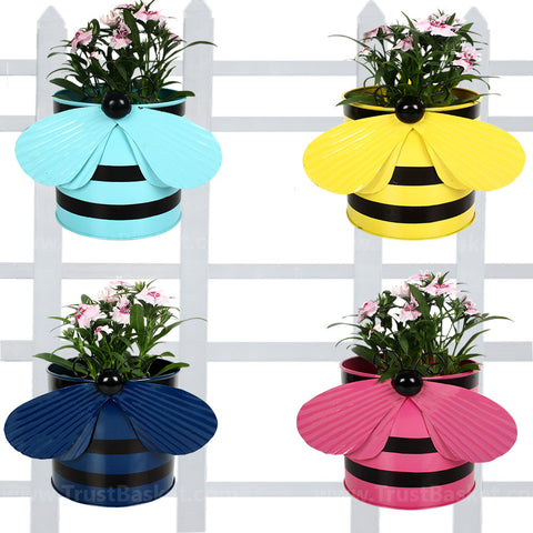 BEST BALCONY RAILING PLANTERS - Set of 4 - Bee planters Teal,Yellow,Blue and Pink
