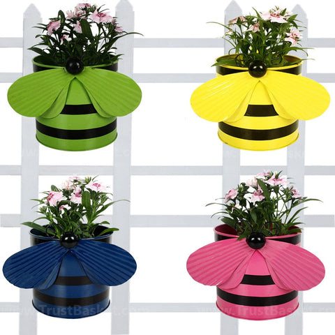 BEST BALCONY RAILING PLANTERS - Set of 4 - Bee planters Green,Yellow,Blue and Pink
