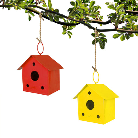 BIRD CAGE/HOUSE - Set of 2 Bird houses (Red and Yellow)